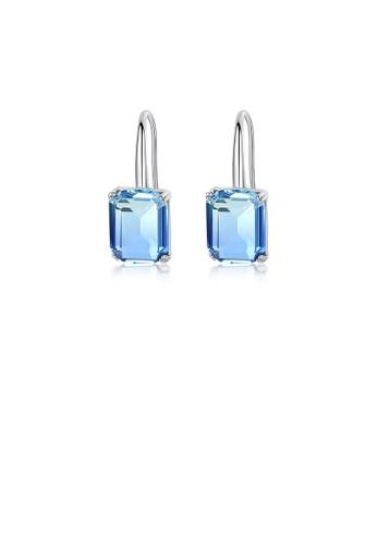 Glamorousky 藍色 簡約時尚幾何矩形耳環配藍色鋯石 E4ECDACAFDC971GS_1