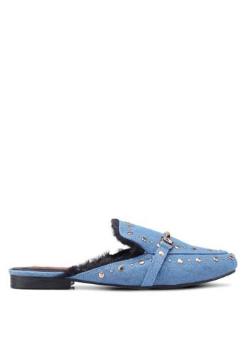 Nose blue Studded Flat Mules E0A6BSHE96B69BGS_1