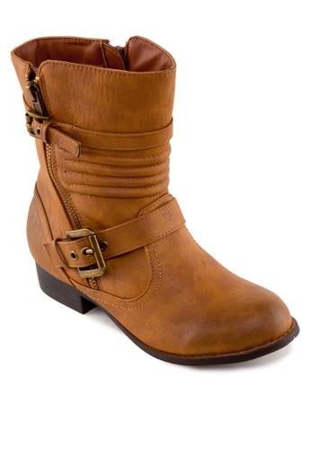 雙扣環仿皮中筒靴, 女鞋, zalora 包包評價鞋