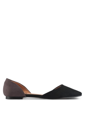 ZALORA black and grey Tonal Panel Flats D2B28SH46E2DCDGS_1