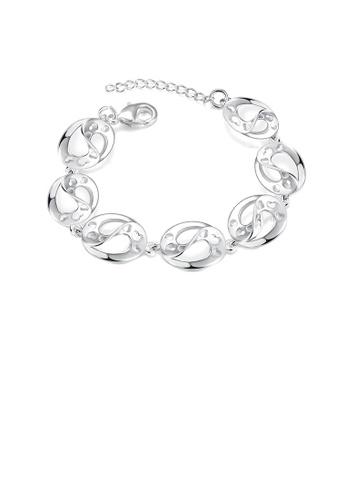 Glamorousky silver Simple and Fashion Geometric Hollow Heart Oval Bracelet 824BEAC9525716GS_1