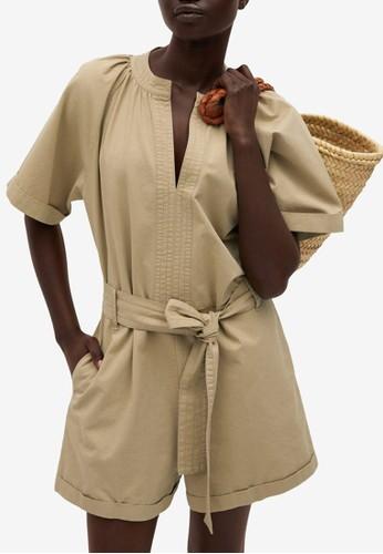 Mango beige Belted Cotton Jumpsuit D9CF7AA9AC4656GS_1