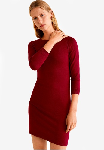 Mango red Fitted Jersey Dress 09DA9AA6EB490EGS_1
