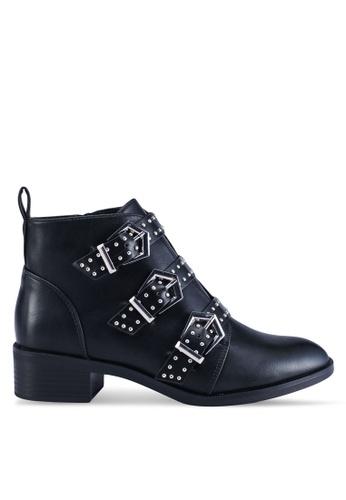 ONLY 黑色 金屬感高跟踝靴 D78B8SHC18BF54GS_1