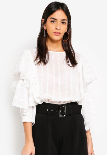 bYSI white Frill Sleeves Blouse 83463AAF139460GS_1