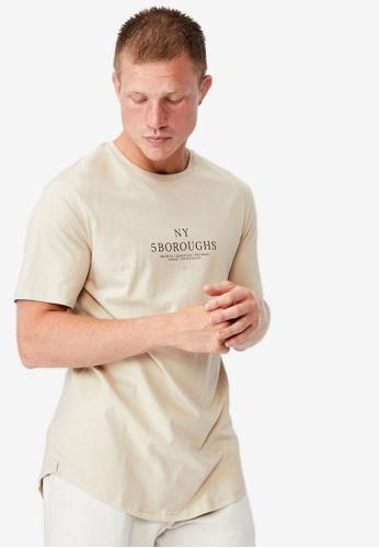 Cotton On beige Longline Scoop T-Shirt 4E87BAA2E3781DGS_1