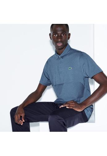 dbb8c8bb8 Lacoste blue Men s Lacoste SPORT Snap Neck Technical Striped Jersey Golf  Polo Shirt - DH3465-