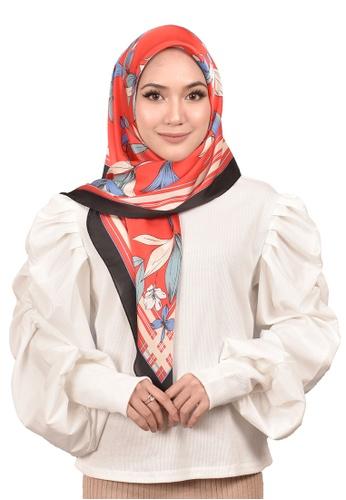 FATIMÉ multi Satin Square Hijab Lily (Red) A8645AA83E2C19GS_1
