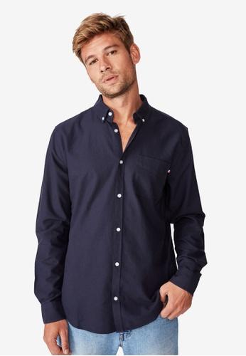 Cotton On navy Brunswick Shirt CO372AA0SSAFMY_1