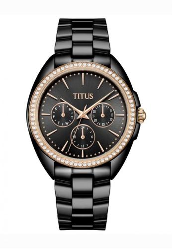 Solvil et Titus black Fashionista Women's Multi-Function Quartz Watch in Dark Gun Dial and Black Stainless Steel Bracelet 8BB4BACF01D339GS_1