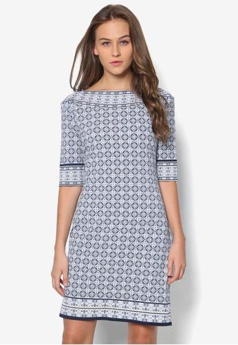 寬領印花連身裙esprit china, 服飾, 洋裝