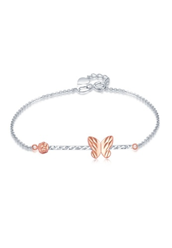 MaBelle red and silver 14K 585 Rose and White Gold Diamond Cut Butterfly Bracelet 0C8DAAC610F78FGS_1