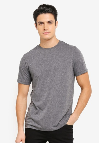 Burton Menswear London grey Charcoal Longline Fit Crew Neck T-Shirt BU964AA0T1HGMY_1