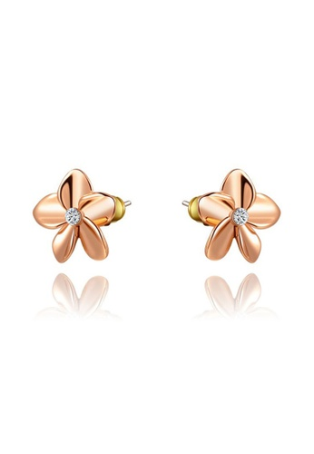 Kings Collection gold Austrian Crystal Gold-Plated Five-Leaf Flower Earrings 05587AC7B0900EGS_1