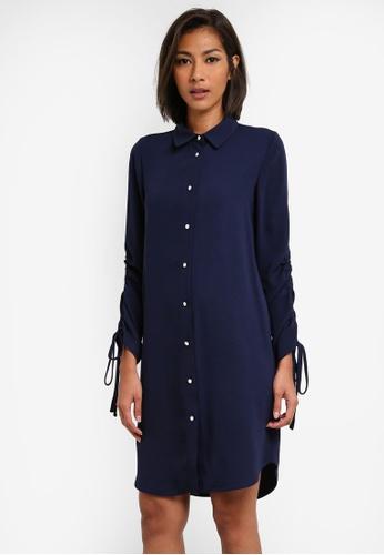 Dorothy Perkins navy Ruched Sleeve Shirt Dress DO816AA0SB66MY_1