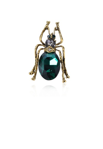 Glamorousky green Fashion Personality Plated Gold Insect Brooch with Green Cubic Zirconia D01A6AC8A8D8F5GS_1