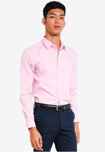 Burton Menswear London 粉紅色 修身長袖襯衫 32235AA058173EGS_1