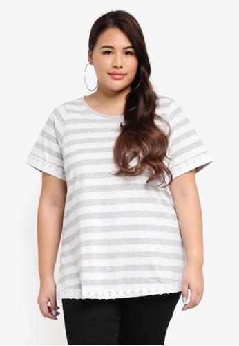 Dorothy Perkins grey Plus Size Stripe Lace Hem Top 4682CAAAB595B9GS_1