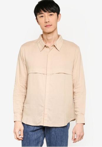 ZALORA BASICS beige Front Panelling Long Sleeve Shirt 54A7BAAF227F65GS_1