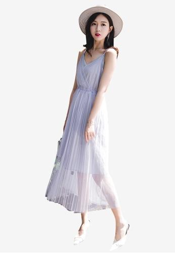 Lara blue Women Sling High Waist Pleated Dress 862AFAAEFC567DGS_1