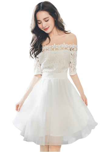 d64994bacb1a Ruby's Collection white Lace and Chiffon Short Sleeve Flare Dress  5B10EAA792549DGS_1