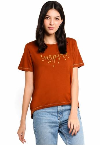 ESPRIT brown 3/4 Sleeve T-Shirt 28E8DAAAB042B0GS_1