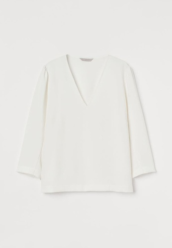 H&M white Puff-Sleeved Blouse 745B6AAA249556GS_1
