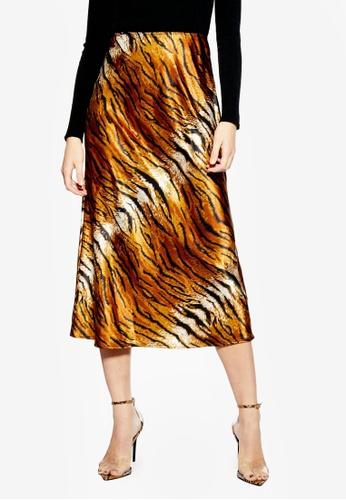 b2e690ba5b3fc Buy TOPSHOP Tiger Satin Bias Midi Skirt Online on ZALORA Singapore