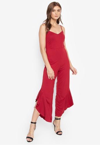 Daria red Gloria Spaghetti Strap Ruffle Leg Jumpsuit BAC91AA3F75FE0GS_1