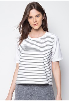 Striped Interlock Short Sleeve Boxy Top