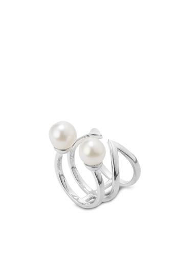 Wanderlust + Co silver Double-Bar & Pearl Silver Ring WA415AC27VGAMY_1