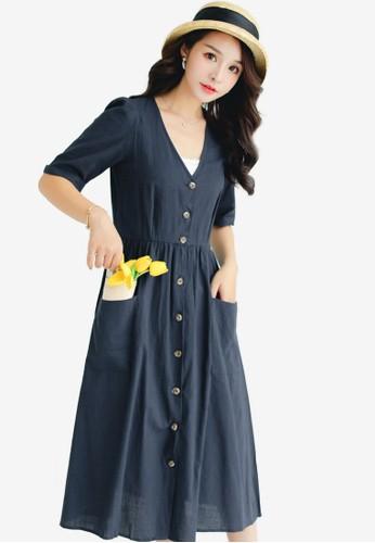 Shopsfashion navy V-Necked Midi Dress 27442AAA6990A0GS_1