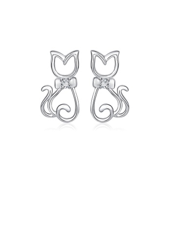 Glamorousky white 925 Sterling Silver Simple Cute Cat Stud Earrings with Cubic Zirconia 74D13ACDDF73EDGS_1