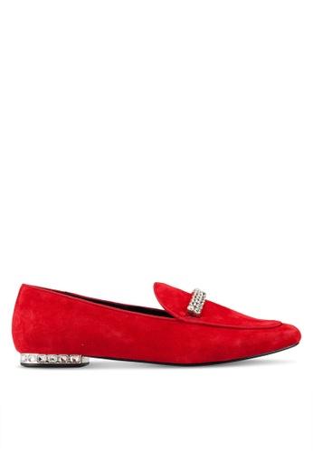 Dune London 紅色 鑽飾樂福鞋 25377SH99F3D09GS_1
