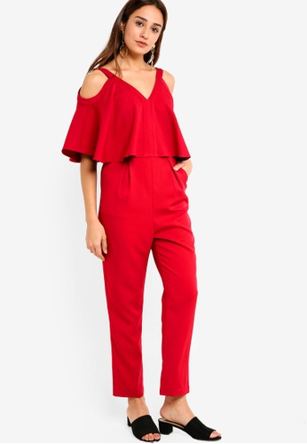 ZALORA red Cold Shoulder Jumpsuit BD2B1AA0F0E96BGS_1