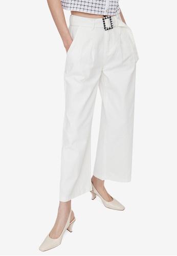 URBAN REVIVO white Houndstooth Buckle Trousers 38E4CAA85DCD04GS_1