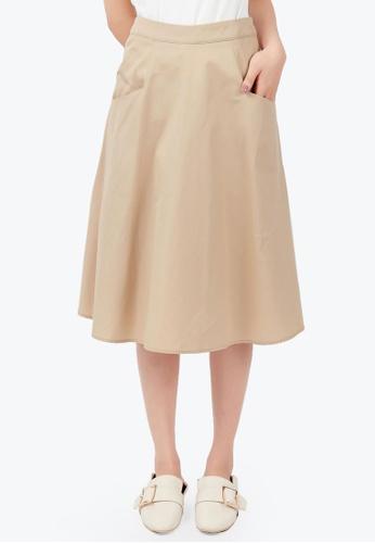 Kodz beige Structured Skirt 63B60AAFB4A800GS_1