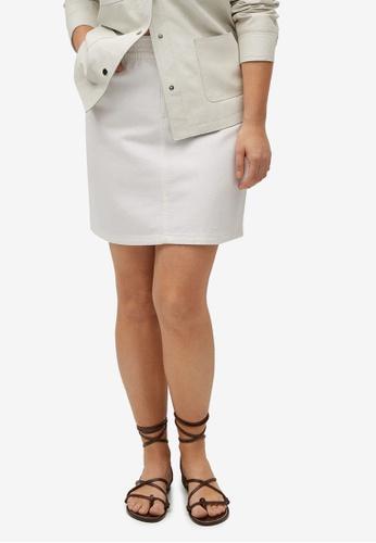 Violeta by MANGO white Plus Size Denim Mini Skirt 6EB47AA0E97518GS_1