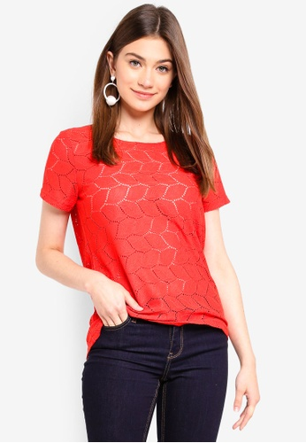 JACQUELINE DE YONG red Tag Lace Top 0CB41AA68BA7E7GS_1