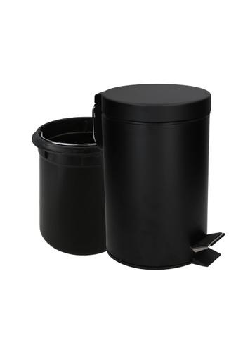 JVD JVD Lifestyle Pedal Bin, Matt Black Stainless Steel with Soft-Closing lid, with inner plastic liner, 3 litres 29972HL61DD955GS_1