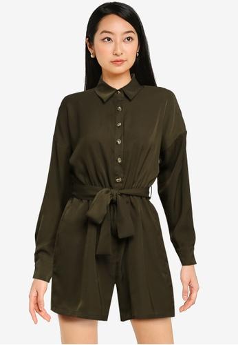 ZALORA BASICS green Casual Shirt Playsuit BF6CEAAE625A11GS_1