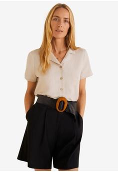 6056608ea719f4 Mango brown Linen Blend Short Sleeve Shirt 21D9DAA2E4ED56GS 1