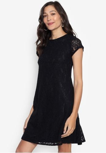 Ashley Collection black Lace Short Sleeve Shift Dress D84F7AA2E2DE0EGS_1
