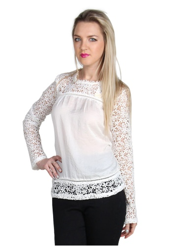 London Rag white White Full Sleeve Casual Lace Top 2AE44AA2BA81A7GS_1