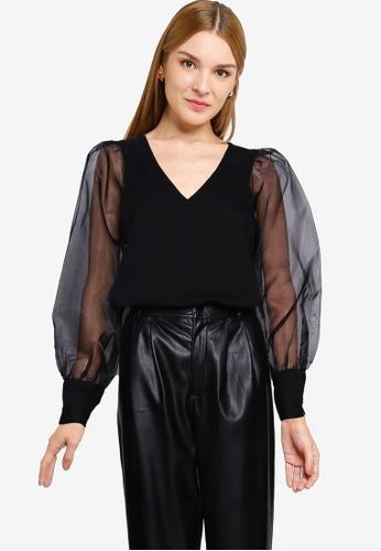 Vero Moda 黑色 Ideal V-Neck Blouse 4473FAA68AF602GS_1