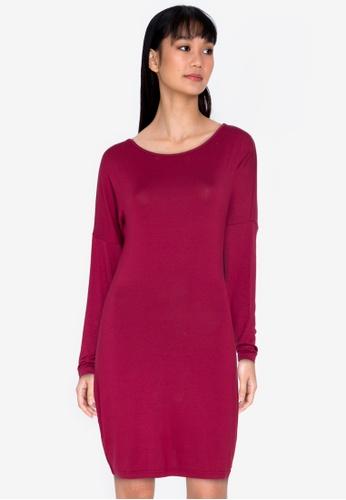 ZALORA BASICS red Long Sleeve Mini Dress C3564AABB4F09FGS_1