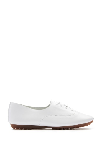 PAZZION white Lace Up Flats A790ESH3B89CE1GS_1