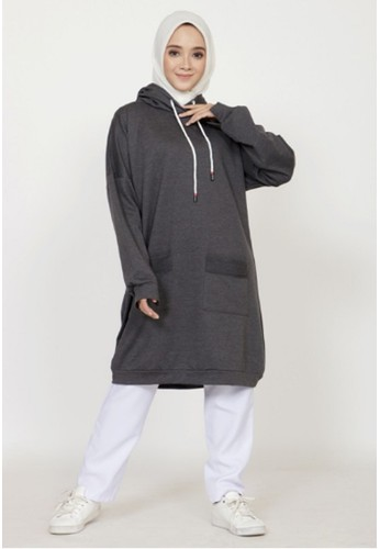 ZAHRA SIGNATURE grey Long Tunik Babyterry E65D5AA5173115GS_1