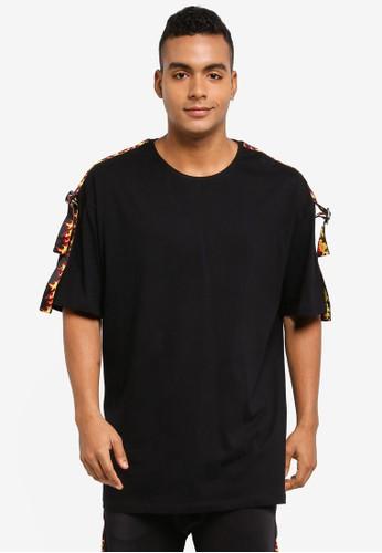 Flesh Imp black Esteem Fire Taping Oversized T-Shirt 52993AA66C3D57GS_1