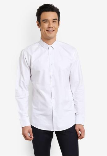 ZALORA 白色 Slim Fit Oxford Long Sleeve Shirt 1F02BAA760C7A0GS_1